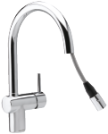Damixa Osier one-grip kitchen mixer with pull out in chrome