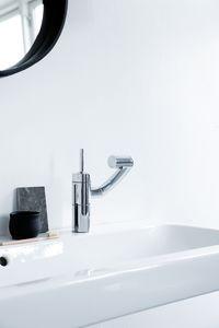 Arc Håndvaskarmatur med bundventil (Krom/Sort)