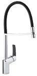 Slate pro kitchen mixer in chrome/black