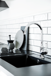 Close up of the modern one-grip Tradition kitchen mixer