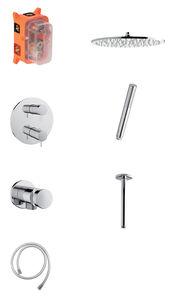 Armatura podtynkowa Eliza HS2 podtynkowy zestaw prysznicowy termostatyczny (Chrom/srebrny wąż)